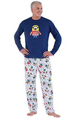 PajamaGram Fun Christmas Pajamas Men - Minion Pajamas, Cotton/Fleece, Blue, LG
