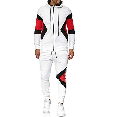 MTENG Men's Tracksuits Set Fall Winter Full-Zip Color Patchwork Hooded Sweatshirt Jogger Sweatpants Sports Suit