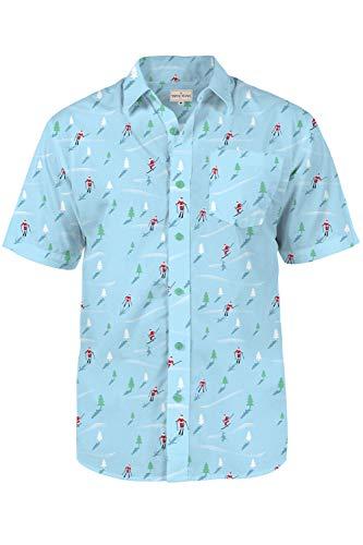 Tipsy Elves Men's Christmas Aloha Shirts Downhill Skiing Santa Claus Blue Allover Print Short Sleeve Button Down Shirt Size Large