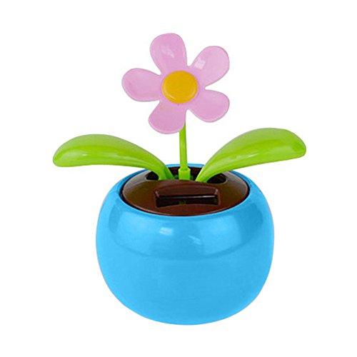 LPxdywlk Solar Automatische Schaukel Blume Auto Schütteln Kopf Float Innendekoration Home Desk Dekoration Blau