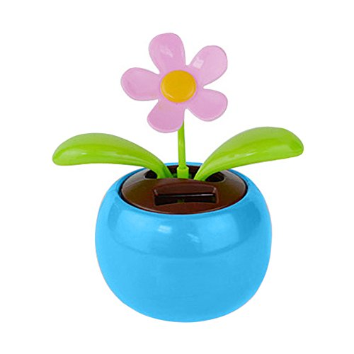 YINGYUE Cute Solar Powered Dancing Swinging Animated Flower Toy Car Ornament Home Office Desk Decor Gift Blue