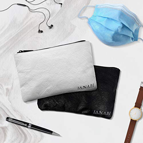 Mask Case - Luxury Pouch for Face Masks – Portable Storage for Face Cover, Reusable, Lightweight, Mask Holder Carrying Case, and Bag Organizer. Face Bag Mask Container (Set of 2), Black and White.