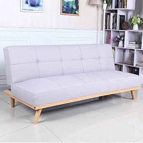 Sofá Cama 3 plazas Clic Clac Rimen Gris tapizado con Tela 100% Poliéster, Patas de Madera