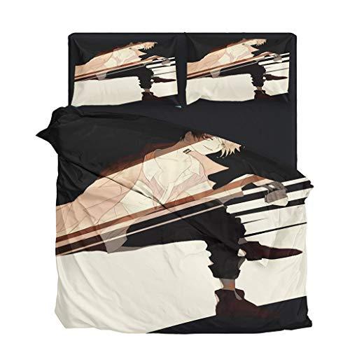 SAFTYBAY Novo jogo de cama 3D The Promised Neverland novo anime capa de edredom conjunto de cama para casal Queen King, capa de edredom para cosplay Emma Norman Ray com duas fronhas para fãs (5, King EUA)