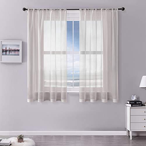 MRTREES Vorhänge Gardinen mit Store Vorhang Voile halbtransparent kurz in Leinenoptik Gardine Schals Graurosa 175×140cm (H×B) für Wohnzimmer Schlafzimmer Kinderzimmer 2er Set