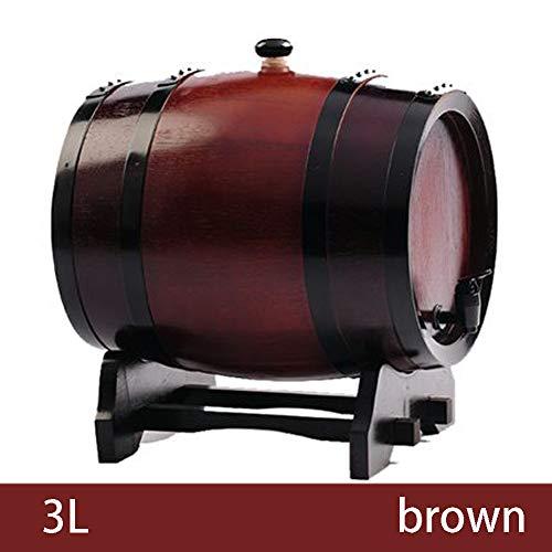 FYJTL Weinfass - Ohne Galle Weinbereitung Holzfass Zapfhahn Massives Eichenfass Schnapsfass Quality Holzwaren Unlackiertes Holzfass,Brown,3L
