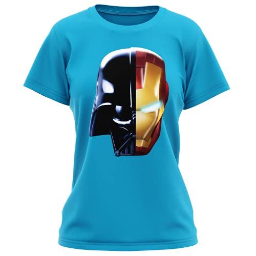 OKIWOKI Star Wars - Iron Man Lustiges Türkis Damen-T-Shirt - Darth Vador, Iron Man und Daft Punk (Star Wars - Iron Man Parodie signiert Hochwertiges T-Shirt in Größe M - Ref : 657)