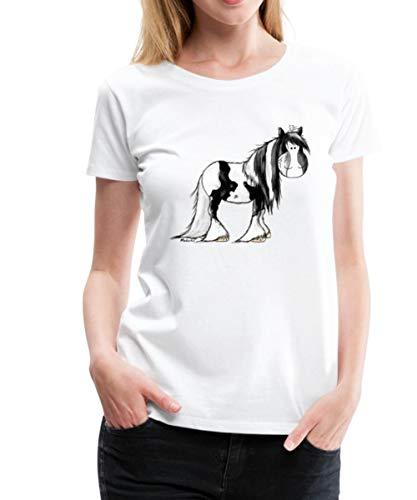 Irish Tinker Pferd Seitlich Frauen Premium T-Shirt, 3XL, Weiß