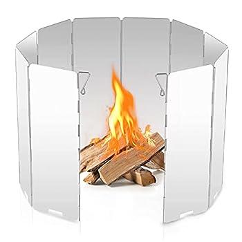 Huahuanghui Pare-Vent,Pare-Vent Pliable en Alliage d'aluminium,Plein Air pour Le Camping Pare-Vent,Cuisine Pare-Brise,Pare-Vent Pliable Rechaud Aluminium Portable,Poêle Vent Bouclier Plaque (8)