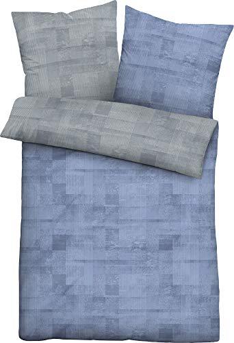 biberna 0636061 Bettwäsche Garnitur mit Kopfkissenbezug Mako-Baumwoll-Satin 1x 200x200 cm + 2x 80x80 cm blau