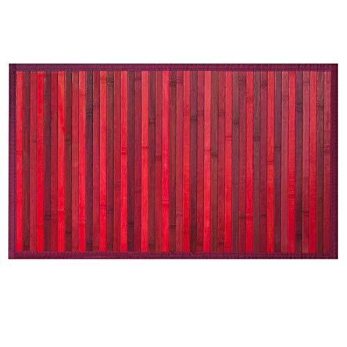 OLIVO.Shop | Bamboo Tappeto Bordato in bambù con Fondo Antiscivolo Vari Colori E Misure (Rosso, 50X130)