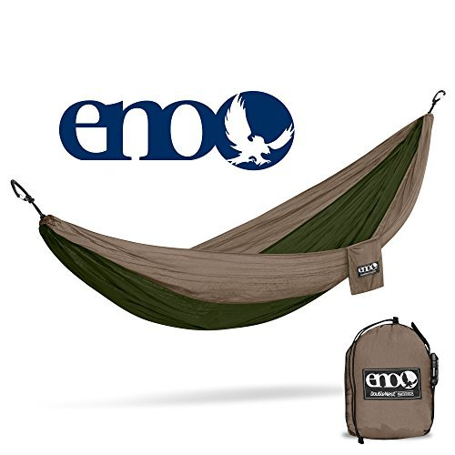 ENO, Eagles Nest Outfitters DoubleNest Lightweight Camping Hammock, 1 to 2 Person, Khaki/Olive