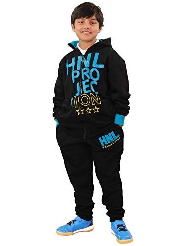A2Z 4 Kids® kinderen meisjes jongens ontwerper zwart & blauw trainingspak HNL Projectie print capuchon & broek joggingpak leeftijd 7-13 jaar
