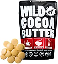 Raw Organic Cocoa Butter Wafers from Peru   Unrefined, Non-Deodorized, Food Grade, Plant-Based, Paleo, Vegan Body Butter - Great for DIY Recipes, Baking, Keto Coffee, Skincare and Haircare (16 oz)