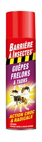 BARRIERE A INSECTES Aérosol contre les Guêpes, Frelons, Taons, Prêt à l'emploi, 400 ml, BARGUEP400