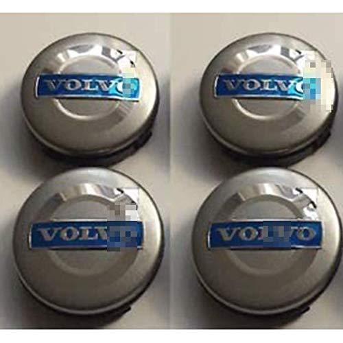 YZZR Tapas para Llantas,para Volvo C70 S60 V60 V70 S80 XC90 de 64MM 4pcs con Logo Compatible Coche Centro de Ruedas Emblema Prueba de Polvo Pegatina Rueda Centro Cubierta
