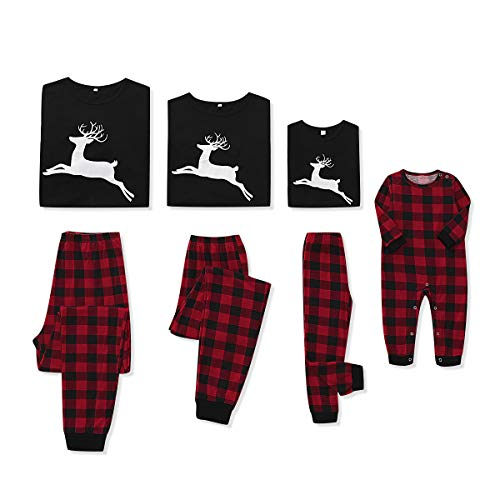 CARETOO Matching Family Pajamas Sets Long Sleeve Christmas Reindeer Plaid Pjs Striped Kids Holiday Sleepwear Homewear Black