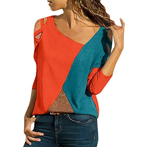iHENGH Damen Top Bluse Lässig Mode T-Shirt Frühling Sommer Frauen Bequem Blusen Casual Panel Tops Rundhals Lange Ärmel Schulterfrei (Orange, L)
