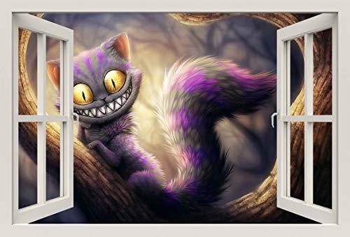 Unified Distribution Grinsekatze Alice im Wunderland - Wandtattoo mit 3D Effekt, Aufkleber für Wände und Türen Größe: 92x61 cm, Stil: Fenster