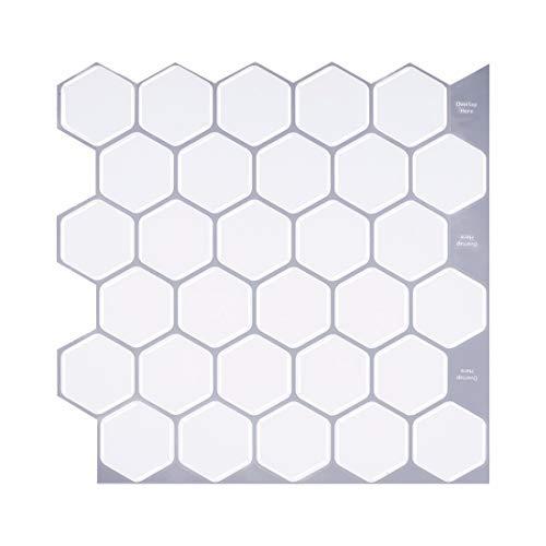 BWGQ Azulejos Autoadhesivos de Mármol de Imitación de 30 cm x 30 cm, 10 Azulejos de Pared de Azulejos Blancos 3D para Salpicaduras de Cocina y Decoración de Baños y Dormitorios