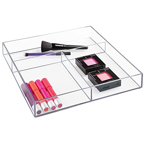 """iDesign Clarity Plastic Divided Organizer Tray, Storage Container for Vanity, Bathroom, Kitchen Countertops or Drawers, 12"""" x 12"""" x 2"""", Clear"""