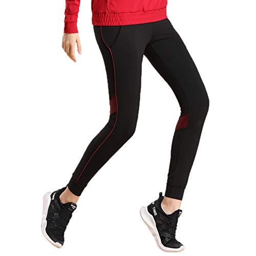 Elonglin Femme Leggings de Sport Pantalon de Course Respirant Pantalon de Yoga Fitness Séchage Rapide avec Poches Noir FR 38 (Asie L)
