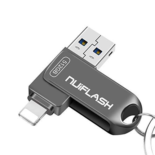 512 GB USB-Stick für iPhone Memory Stick 512 GB Photo Stick iPhone Thumb Drive 3.0 nuiflash iPhone Jump Drive für iPhone / iPad / PC (512 GB-Grau)