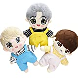 VogueMing Handmade Kpop EXO Bangtan Boy Doll's Clothes Stripe T-Shirt Rompers Plush Doll's Outfit (only White Tshirt, Suitable for 20cm Dolls)