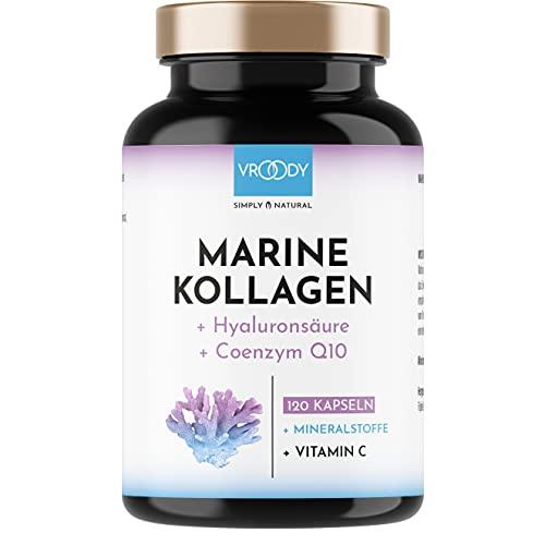 Marine Kollagen Kapseln hochdosiert 1000mg - 120 Kollagen Hyaluronsäure Kapseln hochdosiert + Coenzym Q10, Zink, Kupfer, Mangan & Vitamine C + Biotin - Frei von Zusätzen, Made in Austria von VROODY