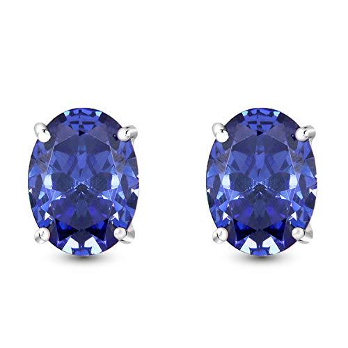 Tanzanite Color Cubic Zirconia Stud Earrings - Like Dimaond Earrings .925 Sterling Silver Oval Shaped Earrings Jewelry