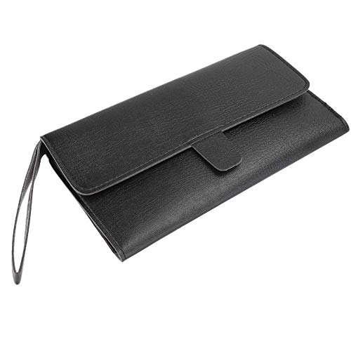 Organizador de herramientas de peluquería, bolsa de almacenamiento portátil para proceso de costura fina suave y duradera, material de cuero de PU de calidad para estilista de tienda de(black)