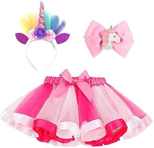 Unicorn Costume for Girls Baby Rainbow Tutu Dress with Unicorn Headband and Unicorn Hair Bow for Kids Dress Up Party