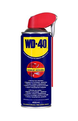 WD-40 Producto Multi-Uso Doble Acción - Spray 400ml - Aplicación amplia o precisa. Lubrica, Afloja, Protege del óxido, Dieléctrico, Limpia metales y plásticos y Desplaza la humedad