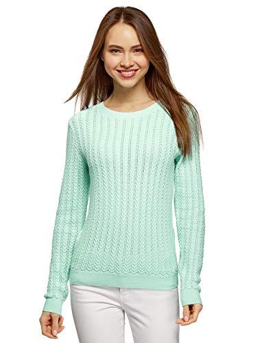 oodji Ultra Damen Pullover mit Fischgrät-Strickmuster, Grün, DE 38 / EU 40 / M