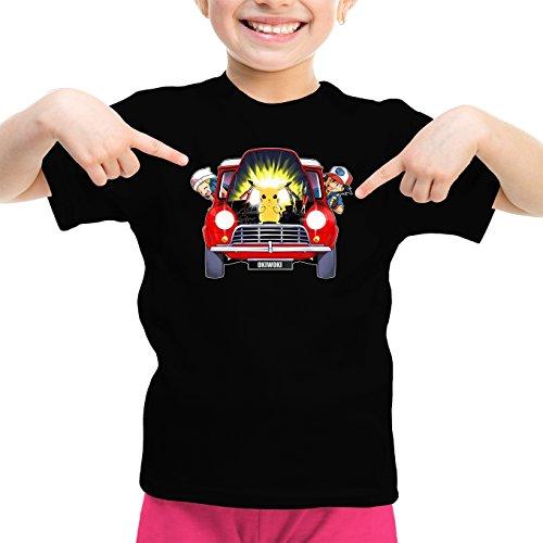 Okiwoki T-Shirt Enfant Fille Noir Pokémon parodique Pikachu, Sasha et Aurore : Pika dépannage (Parodie Pokémon)