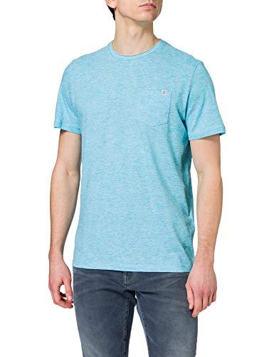 TOM TAILOR Herren 1021232 Alloverprint T-Shirt, 26720-Teal Fine Stripe, M