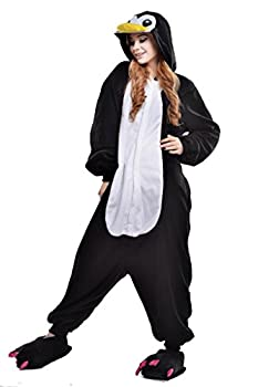 NEWCOSPLAY Unisex Adult Penguin One- Piece Cosplay Animal Pajamas Halloween Costume  S Black Penguin