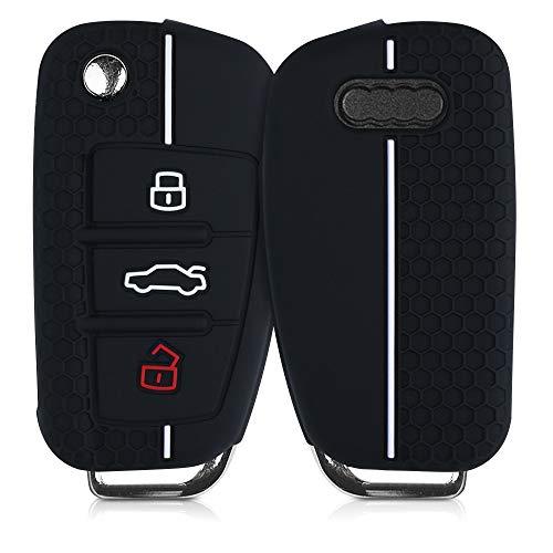 kwmobile Funda de Silicona Compatible con Audi Llave de Coche Plegable de 3 Botones - Carcasa Suave de Silicona - Case Mando de Auto Negro/Blanco