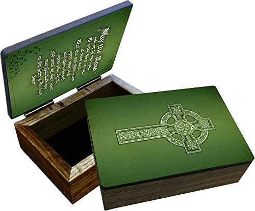 Religious Irish Celtic Cross Blessing Keepsake Box, This beautiful wooden box is handcrafted right here in the U.S.A. Perfect for holding rosaries, jewelry, and other small keepsakes. 4'x6'x2'.