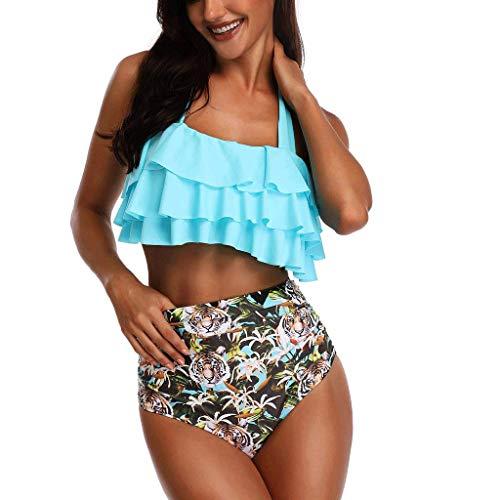 CheChury Bikini Mujer Traje de baño Ruffle Retro Alta Conjunto de Bikini Cintura Alta Monokini Push Up Bañador Push Up Bikini Set para Mujer