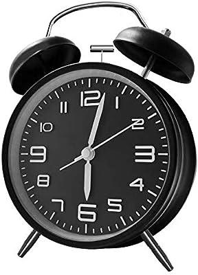 ANHEQ 目覚まし時計 大音量 アナログ めざまし時計 ベル おしゃれ 電池式 置き時計 連続秒針採用 静音 卓上時計 絶対起きれる時計 目覚まし(黒)