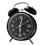 ANHEQ 目覚まし時計 大音量 アナログ めざまし時計 ベル おしゃれ 卓時計 連続秒針採用 静音 卓上時計 絶対起きれる時計 (黒)