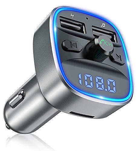 Bovon Transmisor FM Bluetooth Coche Manos Libres, Bluetooth para Coche, Cargador de Coche con Doble USB Reproductor MP3 Mechero Coche, Adaptador de Radio Soporte Tarjeta SD y U Disk (Gris)