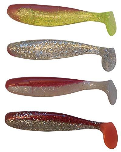 SANDAFishing 4 Hechtgummis Zanderköder Jankes 6'' Gummifische - 16cm Relax Kopyto Shad Hecht Köder Angeln Gummi Fische Set Zander Dorsch Waller Fishing (16cm Farbmix 2)