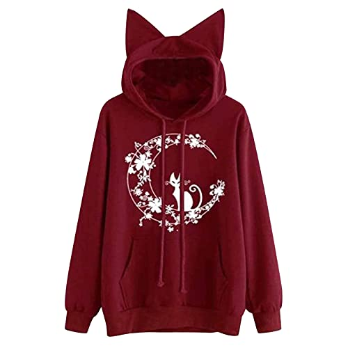 Women's Hoodie Realistic Flower Print Long Sleeve Hooded Sweatshirt Pullover Drawstring Oversized Fashion Top