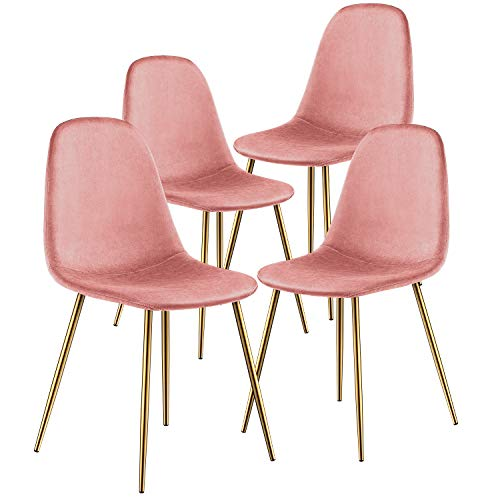 Dining Chair for Kitchen Dining Room Set of 4 Mid Century Modern Side Chairs with Golden Metal Legs, Velvet Fabric and Soft Upholstered Seat