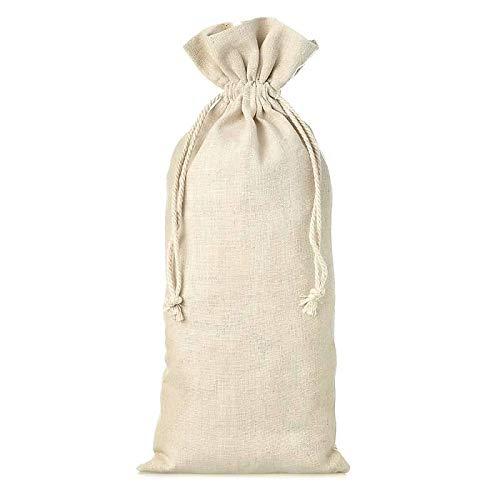 Pack de 50 Bolsas rústicas para Botella de Vino pequeña de 13 x 27 cm. Material: Lino