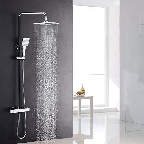 Lonheo Eckige Dusche Edelstahl Duschset, Thermostat Duschsystem mit Regendusche 19x26 cm Chrom, Duschsäule mit Top Spray, Handbrause, Duschkopf verstellbar Höhe