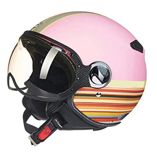 HYRGLIZI Cascos de Moto Jet Motocicleta Retro Casco Hombres y Mujeres, Clásico Verano Cara Abierta Peso Ligero Diseño Medio Casco Certificado ECE
