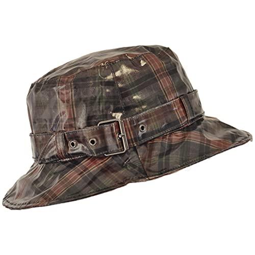 TOUTACOO, Gorro para la Lluvia a Cuadros, Sombrero Impermeable (marrón/Gris)